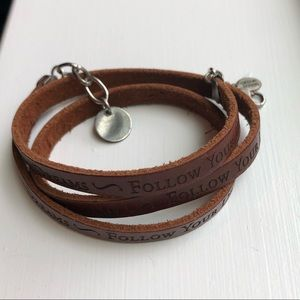 'Follow Your Dreams' Mantra Leather Wrap Bracelet